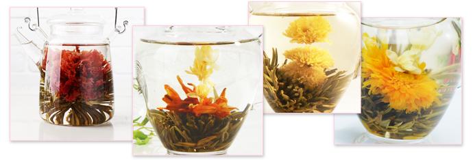 工芸茶は多種多様。工芸茶はすべて手作業で作られています。