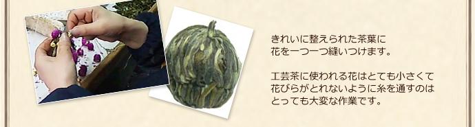きれいに整えられた茶葉に花を一つ一つ縫いつけます。工芸茶に使われる花はとても小さくて花びらがとれないように糸を通すのはとっても大変な作業です。