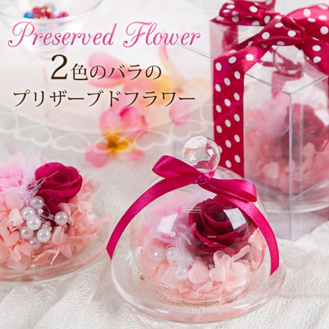 2色のバラのプリザーブドフラワー_メイン画像
